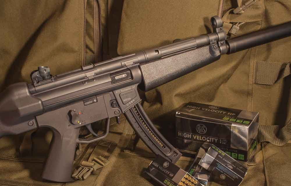 This MP5 clone, chambered for the .22 LR, offers high reliability and a high rate of fire. It's also compact and light enough that anyone in your home can handle it.