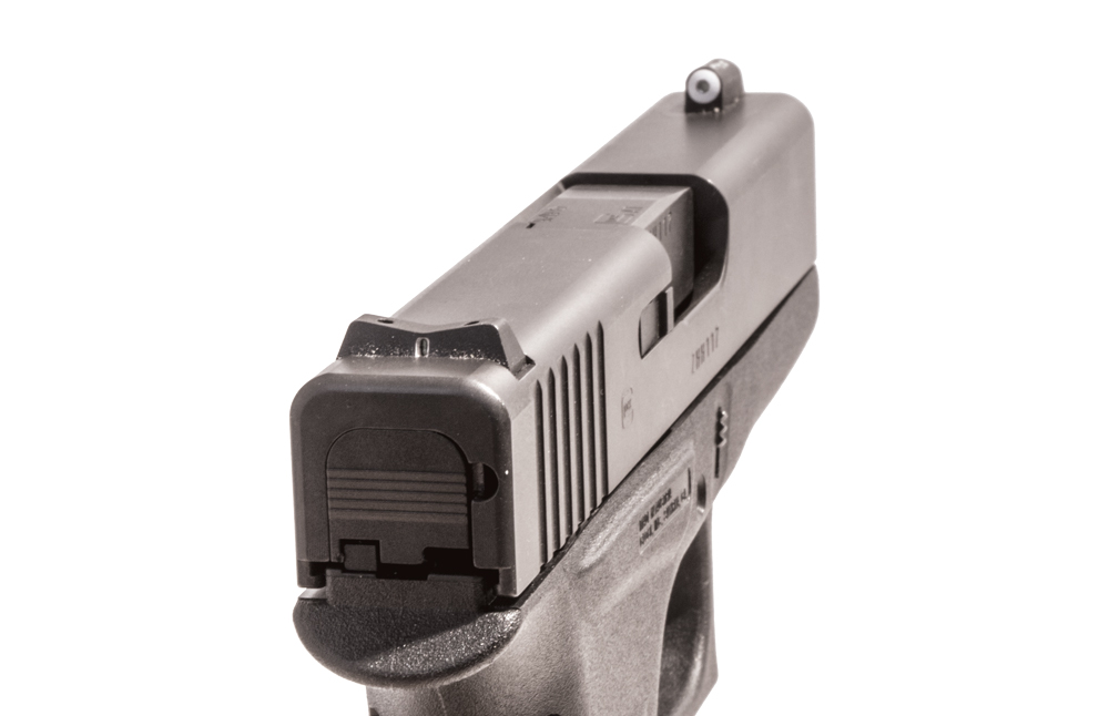 The original XS Sights Big Dot Sight system. Notice the wide front sight and the shallow V-shaped rear.