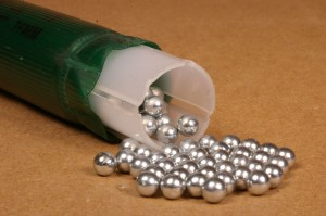 Remington loads round zinc-plated steel shot in its HyperSonic loads.