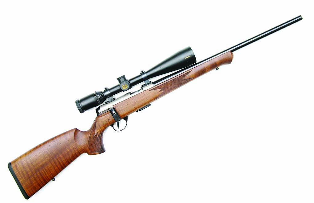 The Anschutz Model 1727 .22 LR is a sporting version of the company's biathlon rifle. Like the Heym SR30, the Anschutz 1727 employs a ball-bearing locking system—but it locks up in the rear.