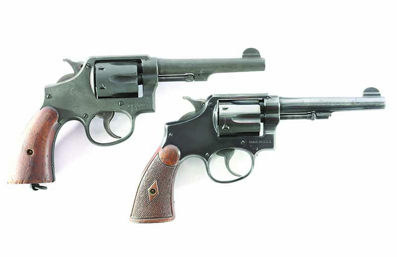 The top revolver is the Lend-Lease Victory in .38 S&W. Below is the pre-war revolvers S&W made for its customers. This one is in .38 Special and started with a high-gloss blue finish. Both have seen honest wear since then.