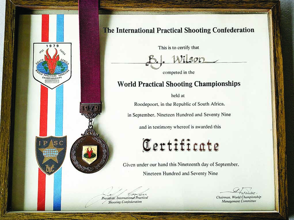 One of the many competitions Bill Wilson participated in regularly was the International Practical Shooting Confederation (IPSC) World Championships. This plaque is from 1979, when Bill competed with the American team. He finished fifth overall that year.