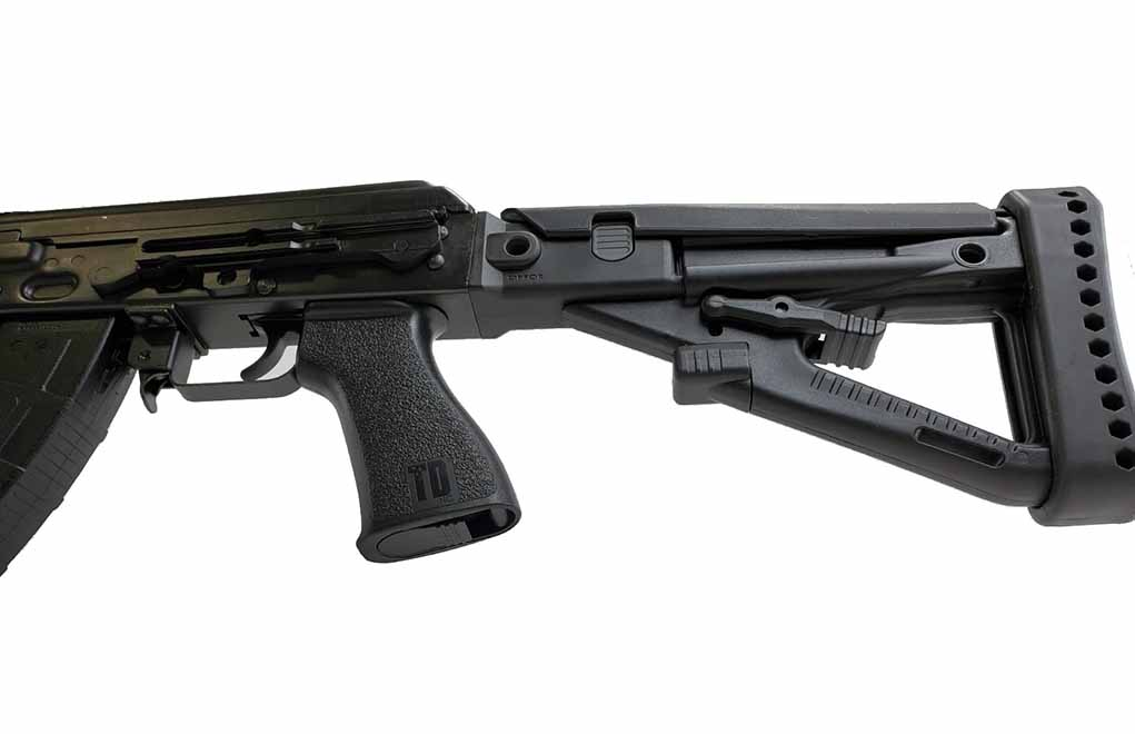 ZPAP polymer stock stock and Yugo style scope rail.