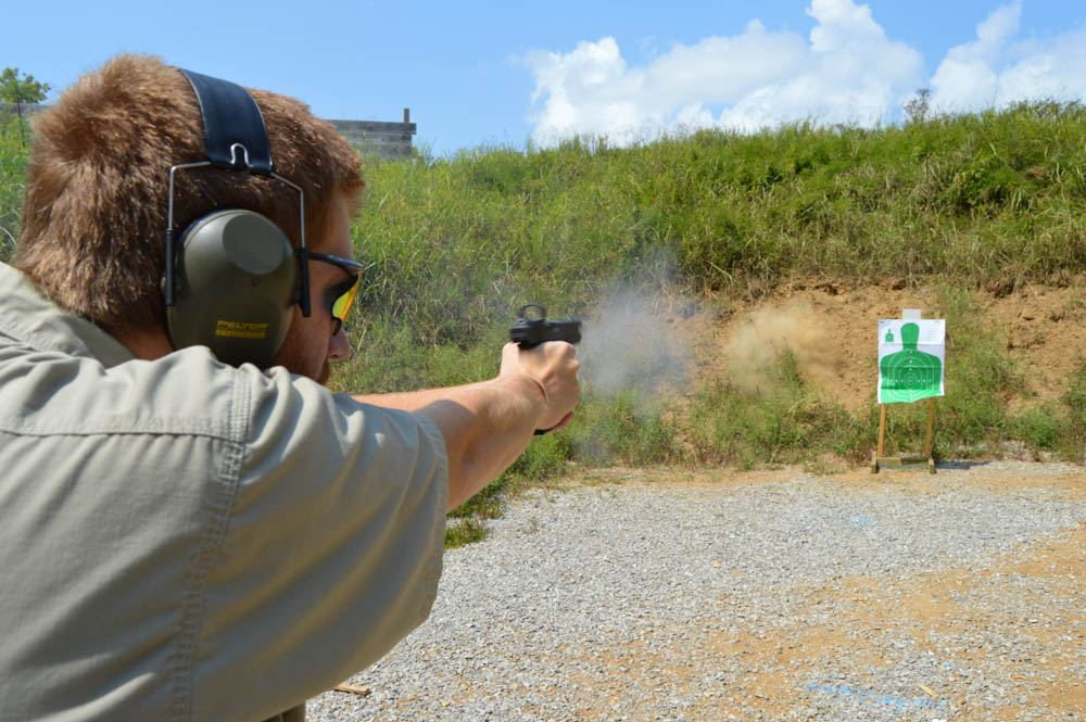 In this drill, the shooter fires into the berm, focusing on trigger control without a target and getting used to applying a steady rhythm to the application of trigger pressure. This drill can also be performed indoors, with a blank target and dry firing the pistol, and focusing on the sights without a target.